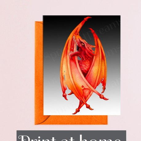 Fire Dragon print at home