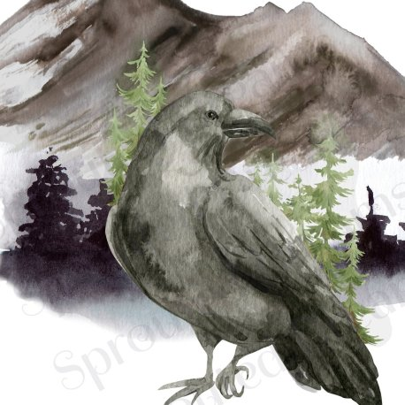 Raven Halloween Greetings single 2 WATERMARKED