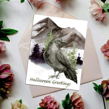 Raven Halloween Greetings with flowers