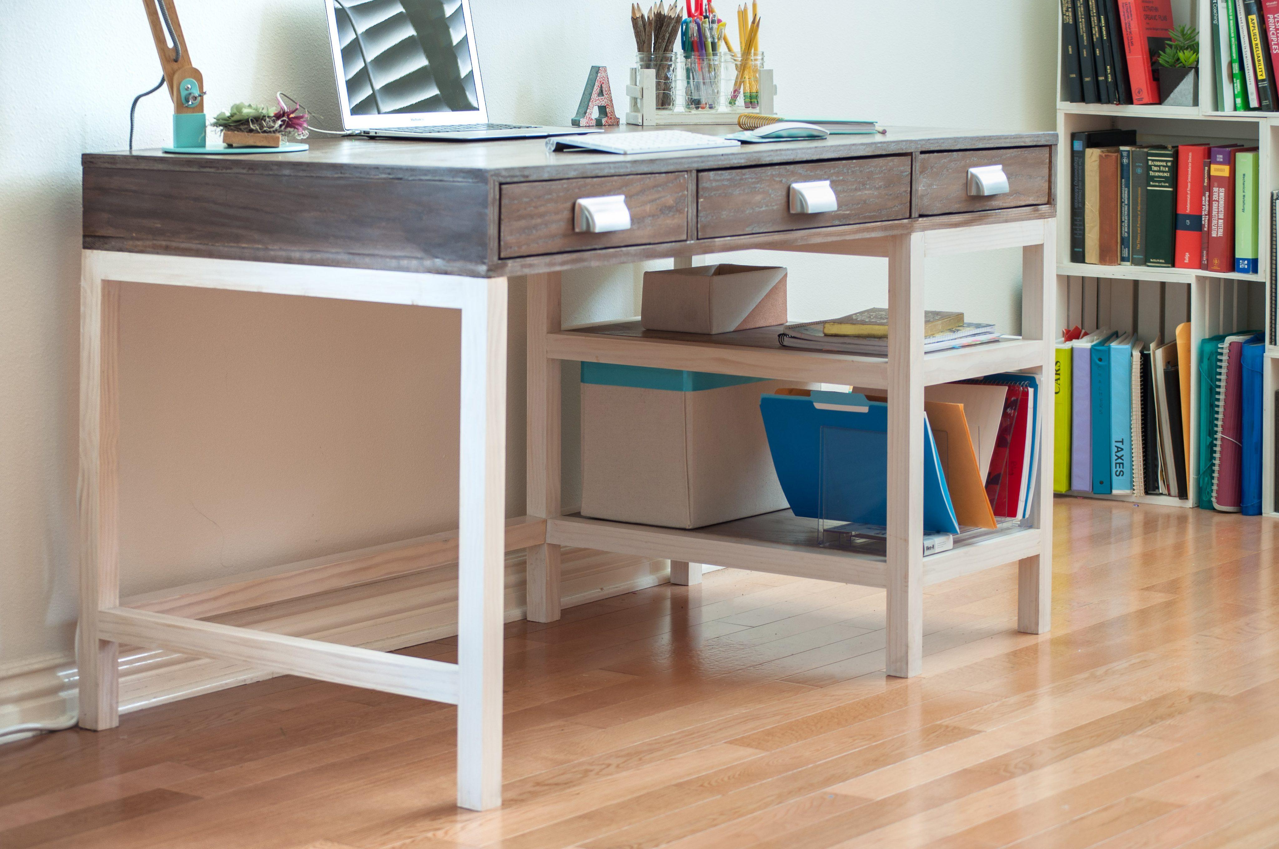 Modern Farmhouse Desk with 3 drawers  Sprucd Market