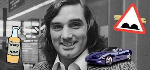 George best mit einem Sportwagen auf der Schulter und rechts neben ihm eine Tequilla Flasche und eine Warntafel mit einem Busen einer Frau