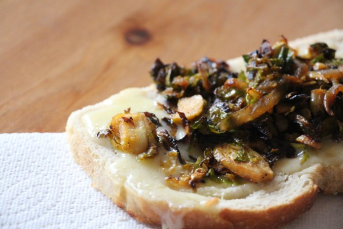 Brussels Sprouts and Smoky Onions on Cheddar Toasts