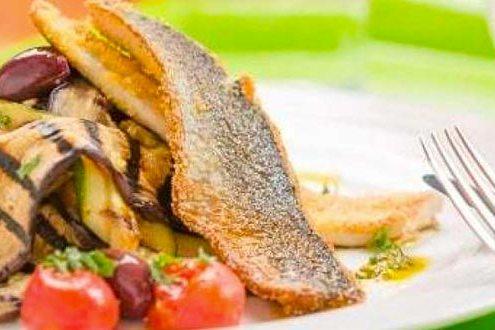 Pan Fried Herring in Polenta Crust with Summer Veg Salad