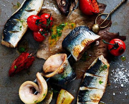 Baked Herring with Lemon and Tomatoes