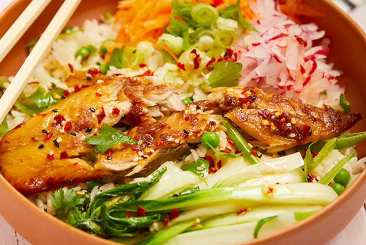 Miso mackerel poke bowl