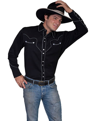 Scully Long Sleeve Snap Front Western Shirt  Black With White Stitch Piping  Mens Retro