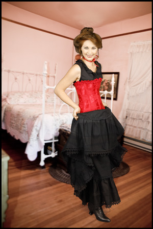 Empire Satin Brocade Corset  Red  Ladies Old West
