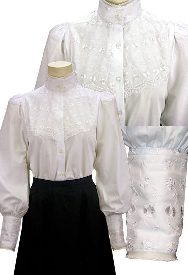 Frontier Classics Laura Blouse  White  Ladies Old West Blouses  Spur Western Wear