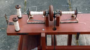 Peter's charkha from rear showing plying arrangement