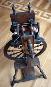 "Double-flyer spinning wheel marked ""IOHN BROWN"""