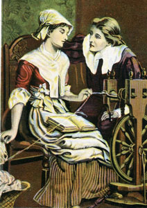 """Illustration for Henry Wadsworth Longfellow's poem, """"The Courtship of Miles Standish"""""""