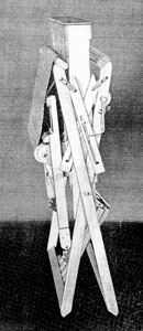 "Photograph from the Bernat loom catalog showing the ""folding feature."""