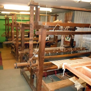 Weaving studio in Saldus, Latvia; loom in front is the oldest and largest.
