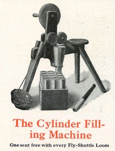 """""""The Cylinder Filling Machine"""" also called a pony. Small three legged structure that can be sat on while feeding strips of fabric into cylinders. (Newcomb Loom Company, 1912)"""
