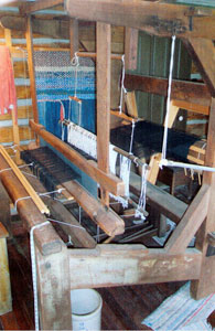 Three-shaft loom from Swedish immigrant family in Ripley's Loom Museum.
