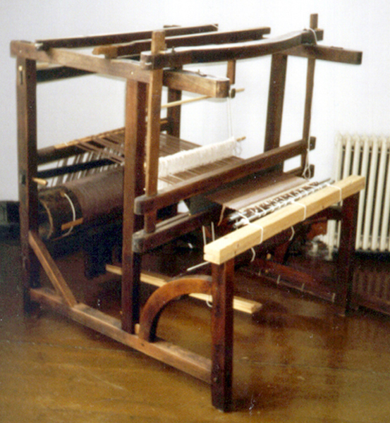 "45"" 2-shaft English-style barn-frame loom with back and center uprights and overhead beater."