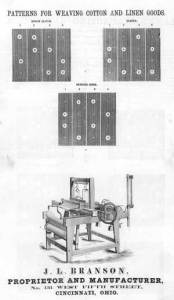 Instruction sheet for patterns for weaving using Branson Looms. Courtesy of Osborne Library, American Textile History Museum.