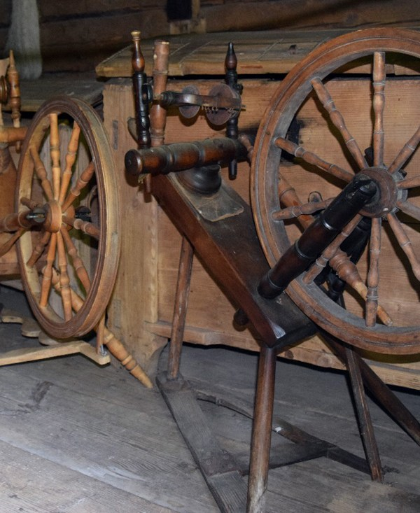 "Two kaldvokk (which means ""sloping spinning wheel"" in Estonian) in the Open Air Museum in Tallin."
