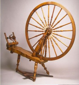 "Cummer #94, horizontal treadle wheel with 36"" drive wheel, curved table."