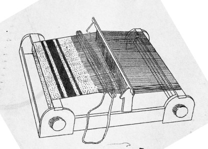 "12""-rigid heddle table loom designed by Nellie Sargent Johnson."