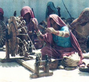 Spinners, Thar Desert, Rajasthan. Photograph by Peter Teal.