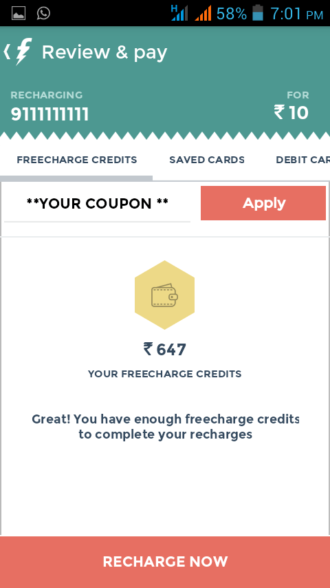 Paytm freecharge voucher