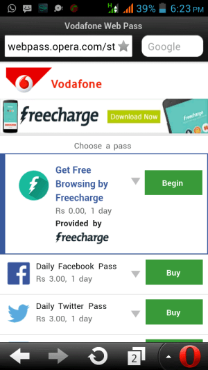 opera mini free browsing trick 2015