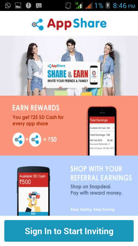 snapdeal refer and earn