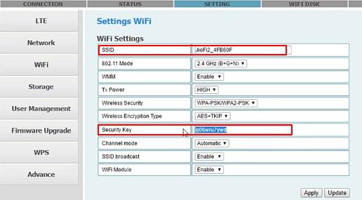change jio wifi key and name