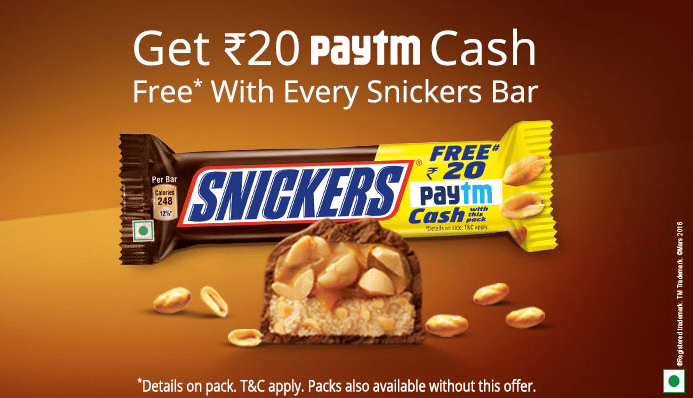 how to redeem paytm snickers code