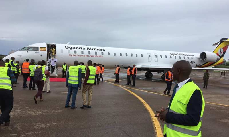 Revived Uganda Airlines Bombardiers Touch Down At Entebbe Airport