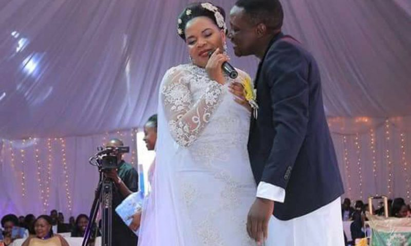 Judith Babirye and Paul Musoke Ssebulime on their wedding