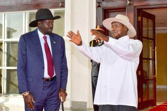 President Yoweri Museveni with Salva Kirr of South Sunda