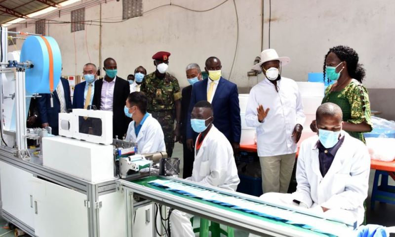 President Museveni Launches New Factory That Manufactures COVID-19 N95 Masks