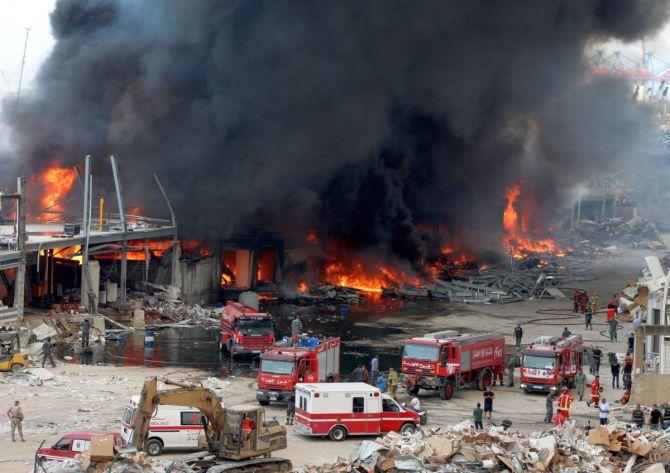 Grief As Huge Fire Guts Beirut Port Weeks After Deadly Blast