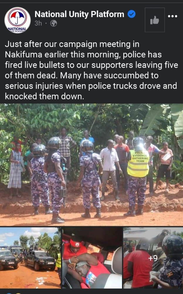 Five Shot Dead, Scores Injured As Police disperse Bobi Wine's Supporters In Mukono