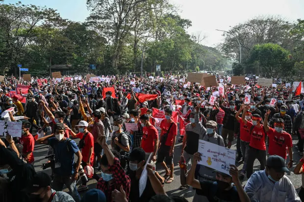 Myanmar Protests Enter 2nd Day With Millions Taking To Streets Despite Nationwide Internet Blackout
