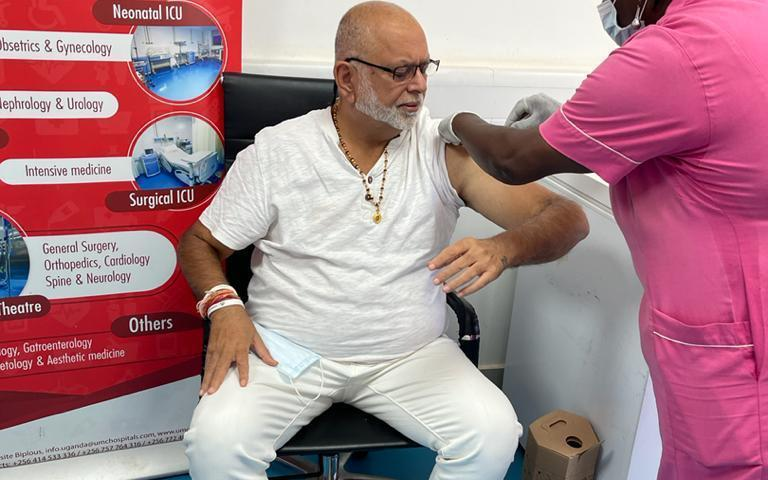 Tycoon Sudhir Ruparelia Takes His 1st COVID-19 Vaccine Jab