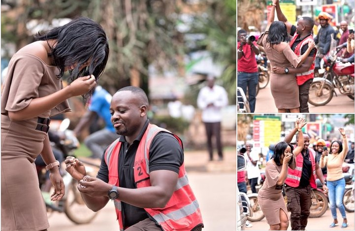Photos! 'Love-Blinded' Man Blocks Entebbe Road Traffic On Busy Highway To Propose To Girlfriend