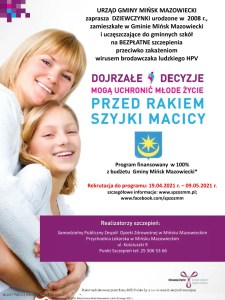 Program profilaktyki zakażeń wirusem brodawczaka ludzkiego (HPV)  w Gminie Mińsk Mazowiecki na lata 2021-2023