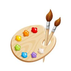 Paint Brush and Palette Clip Art