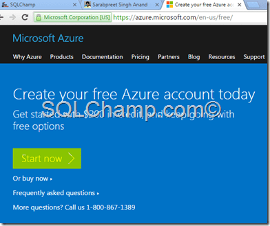 Get Free Azure subscription SQLChamp