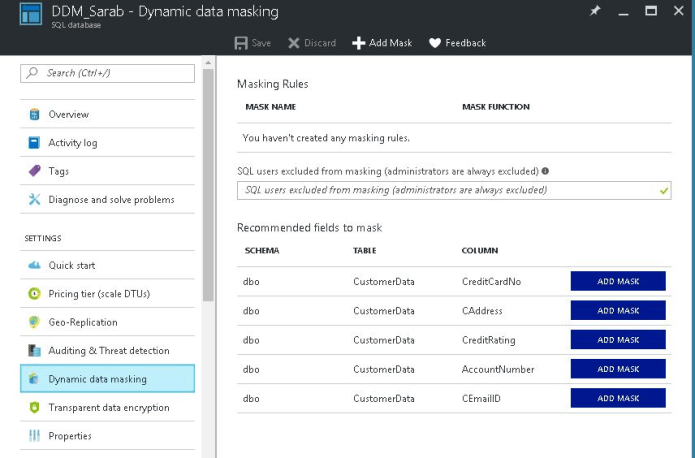 Configure Dynamic Data Masking using Azure SQL Database portal