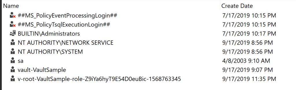 SQL Server Management Studio screenshot showing newly created vault login