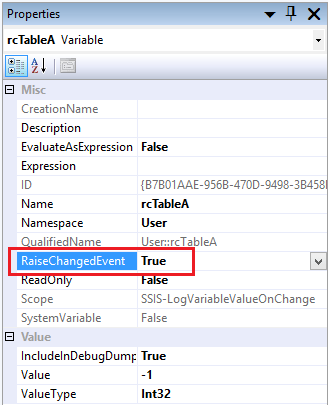 Log SSIS Variable Value 3 - Variable Properties