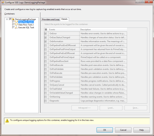 Image 2 - Logging configuration window at the child container node
