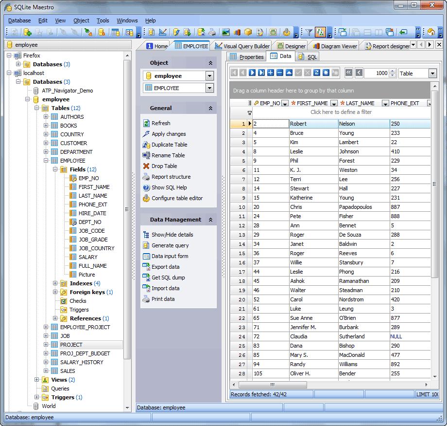SQLite Maestro