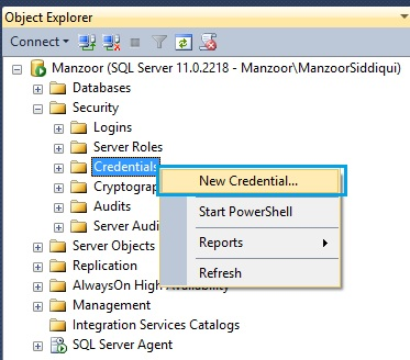 Create New Credential