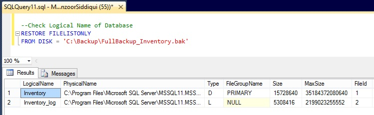 Check Logical Name of Database