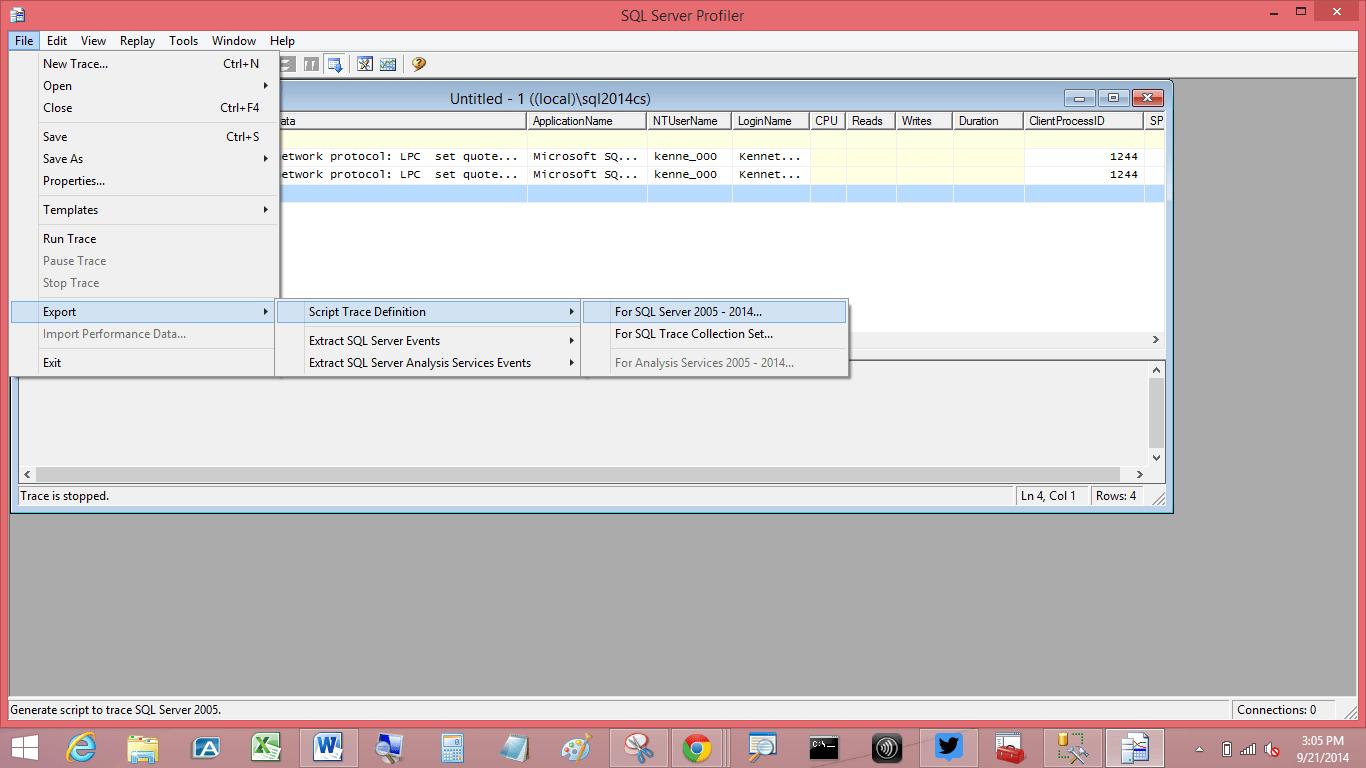 Sql Server Profiler - Export Option